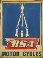 BSA MOTOR CYCLES VINTAGE METAL SIGN