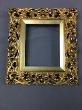 AntQ Thin Intricate Hand Carved Solid Wood & Gilt Frame For Miniature Pieces