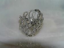 Estate 925 Marked Silver Wide Curlicue Openwork Marcasite Accent Ring Size 7.75