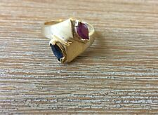 14k Yellow Gold Ruby And Sapphire Ring 4.3g Size 7