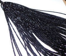 BLACK SPINEL NATURAL FACETED RONDELLE BEADS IN WIRE SINGLE STRAND 2  MM 16 inch