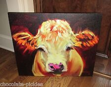 Large COW Face Head CANVAS Wall PICTURE*Farmhouse Primitive/French Country Decor
