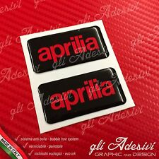 2 Adesivi Resinati Sticker 3D APRILIA Black & Red 50 x 25