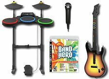 PS3 BAND HERO Video Game Bundle Set w/Guitar/Drums/Mic kit playstation-3