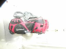 TAYLORMADE GOLF BAG, CARRY/STAND, RED/BLACK,DUAL STRAP, COVER,