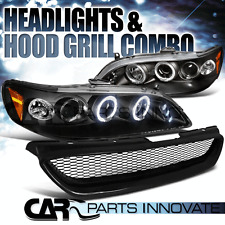 For 1998-2002 Accord 2Dr Black Halo LED Projector Headlights+Mesh Hood Grille
