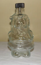"Vintage 8 1/4"" SANTA CLAUS Clear Glass Bottle with Black Screw-On Plastic Cap"