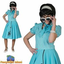 50S BLUE ROCK N ROLL POODLE POLKA DOT UK 10-14 ladies womens fancy dress costume