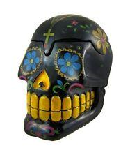 Black Day of the Dead Sugar Skull Mexican Dia De Los Muertos Trinket Box, New, F