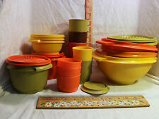 Lot Vintage Tupperware Replacement Bowls-Cups-Covers-More-Harvest Colors 20pc
