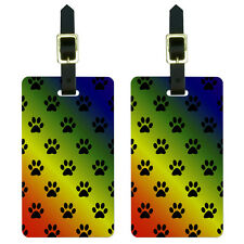 Paw Prints on Parade Rainbow Luggage Suitcase Carry-On ID Tags Set of 2