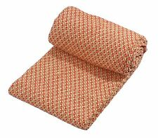WOVEN CHEQUERED ORANGE CREAM 100% COTTON THROW BLANKET 150CM X 200CM