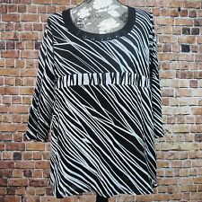 Axcess By Liz Claiborne Blouse Top Size XL Bejeweled 3/4 Sleeve Striped