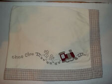 Gymboree Choo Choo Train Baby Blanket Baby Boy Cream Plaid Trim Reversable GUC