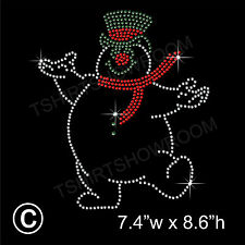Snow Man Winter Christmas Rhinestone Transfer Hotfix Iron on Motif + free gift
