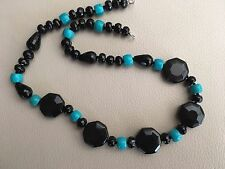 "19"" Rainbow Obsidian(black) Onyx & GreenTurquoise Necklace 925 Silver hook clasp"