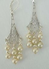 ART NOUVEAU ART DECO  LOVELY  VINTAGE PEARL CHANDELIER EARRING RETRO BRIDAL
