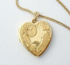 "14K Gold Heart Locket Pendant Necklace HF Barrows 18.5"" Vintage Etched Picture"