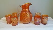 "7pc Dugan Carnival Glass ""Vineyard"" Water Pitcher Set Bright Pumpkin Iridescence"