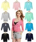 Ladies Fashion 3/4 Sleeves Button Down Cropped V Neck Casual Cardigan Knit Top