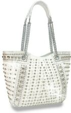 Multiple  Rhinestone and Stud Accented Metallic Fashion Handbag white