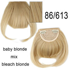 Golden mix bleach blonde Straight Bang Clip in Hair Extensions Real Fringe Bangs