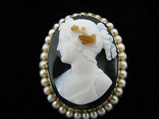 Beautiful Antique Carved Dark Shell Cameo Brooch in 14k Yellow Gold