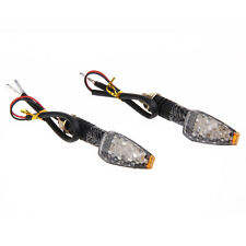 2Pcs Motorcycle Motorbike Carbon LED Turn Signal Indicators Amber Light
