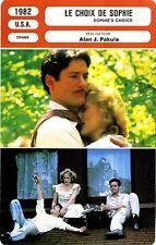 Fiche Cinéma. Movie Card. Sophie's choice/Le choix de Sophie (USA) 1982
