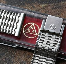 Swiss steel NSA watch band 7-row vintage grooved pattern links 18mm 19mm or 20mm
