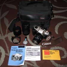 Canon EOS Elan II 35mm SLR Film Camera Bundle w/ Sigma Lenses Filters Hoods Case