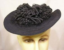 Vintage Womans Tilt Hat Black Straw Platter Black Straw Loops w Veiling in Back