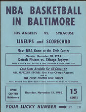L.A. LAKERS VS SYRACUSE IN BALTIMORE 11/15/62