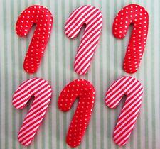 60 Candy Cane Stripe & Polka Dots Satin Applique/Christmas/trim/Padded/stick H22
