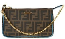NEW FENDI ZUCCA FF TOBACCO VITELLO LEATHER POCHETTE CHAIN HANDLE CLUTCH BAG