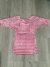 Red And White Striped Top, Topshop, Size 8