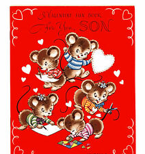 Vtg original unused greeting card Valentine-For you Son-Valentine Funbook