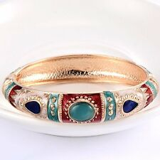 Yellow Gold Plated Womens vintage Emerald green jade Bangle Bracelet 2.36 inch