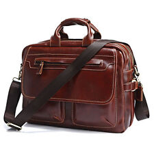 genuine Cow Leather Men's Briefcase Laptop Handbag Business Messenger Tote Bag