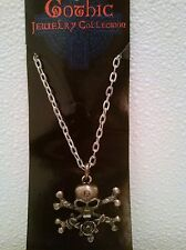 Skull Crossbones Gothic Pendant Necklace Pirate Biker Steampunk Fashion Jewelry