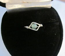 STERLING SILVER NEW AVENTURINE RING WITH A GIFT RING BOX - SIZE 4 3/4