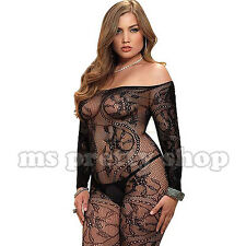 Plus Size 14 Mesh Lace See Thru Shoulderless Long Sleeve Fishnet Bodystocking