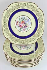 SET(S) 6 PLATES VINTAGE JOHNSON BROS PAREEK JB114 CHINA COBALT BLUE GOLD FLORAL