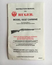 1983 Original Ruger Model 10/22 Carbine 22 LR Semi-Auto Rifle Owner Manual 1022