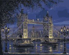 "16x20"" DIY Paint By Number Kit Acrylic Oil Painting On Canvas Night Bridge 398"