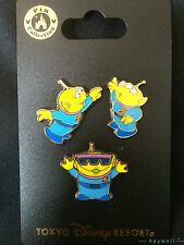 Japan Disney THE LITTLE GREEN MEN Toy Story Characters In The Park 3 Pin Set