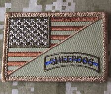 USA AMERICAN FLAG SHEEPDOG TACTICAL US ARMY MORALE BADGE DESERT VELCRO PATCH