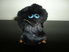 Handmade Black Fur Leather RAVEN CROW Figurine 2.5 inch