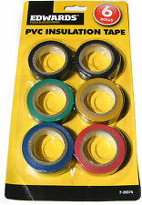6 ROLLS OF PVC INSULATION TAPE PLASTIC BODGE ELECTRICAL - BLACK BLUE RED GREEN