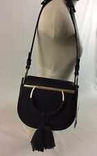 NWT Steve Madden BKIM Metal Ring Tassel Saddle Bag CrossBody Purse Handbag Black